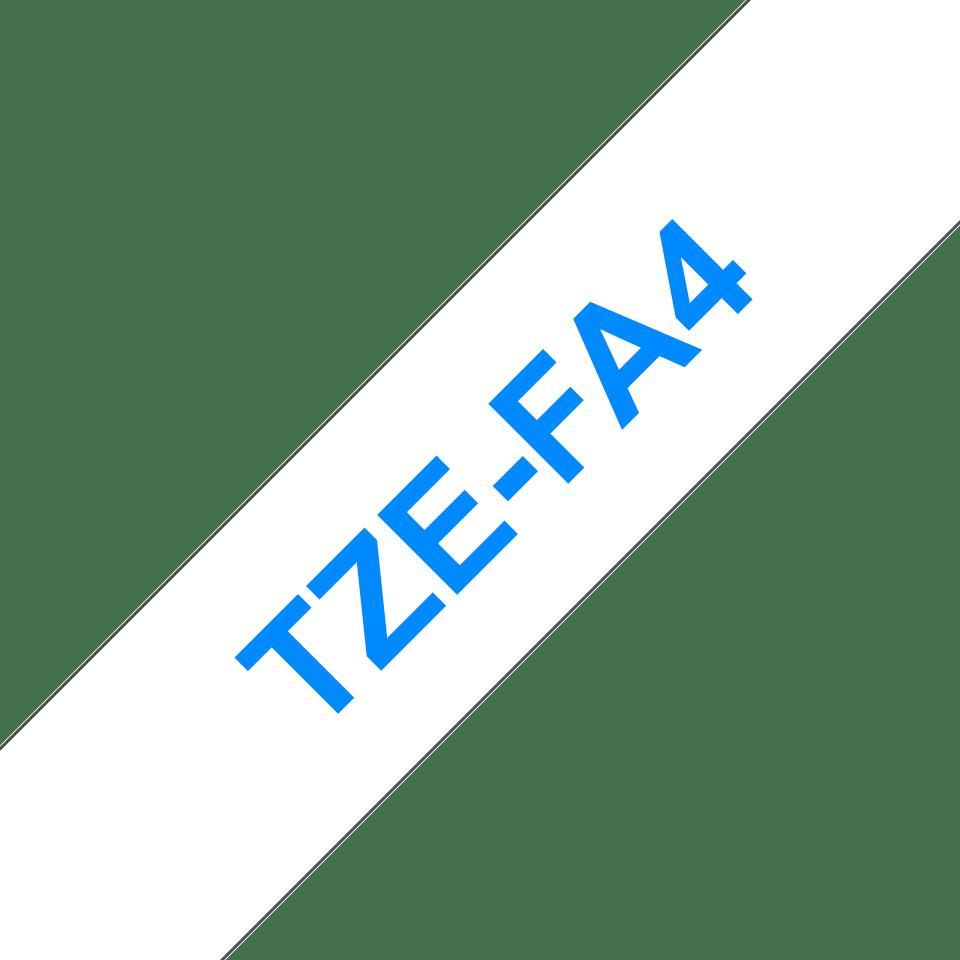 Brother TZe-FA4 Schriftband – blau auf weiß 3