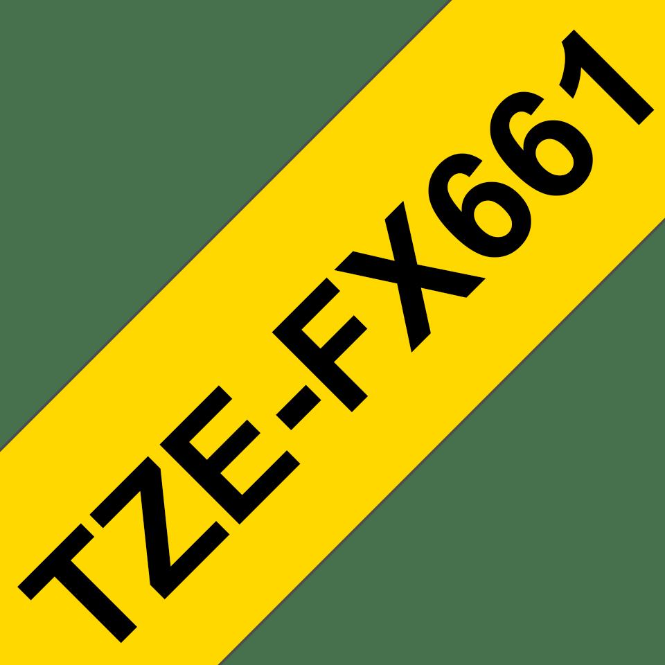 Brother TZe-FX661 Flexi-Tape – schwarz auf gelb 3