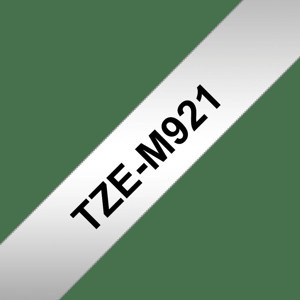 Brother TZe-M921 Schriftband – schwarz auf silber (matt) 2