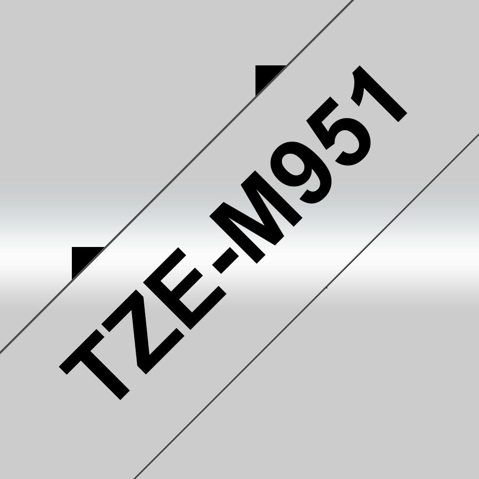 Brother TZe-M951 Schriftband – schwarz auf silber (matt) 2