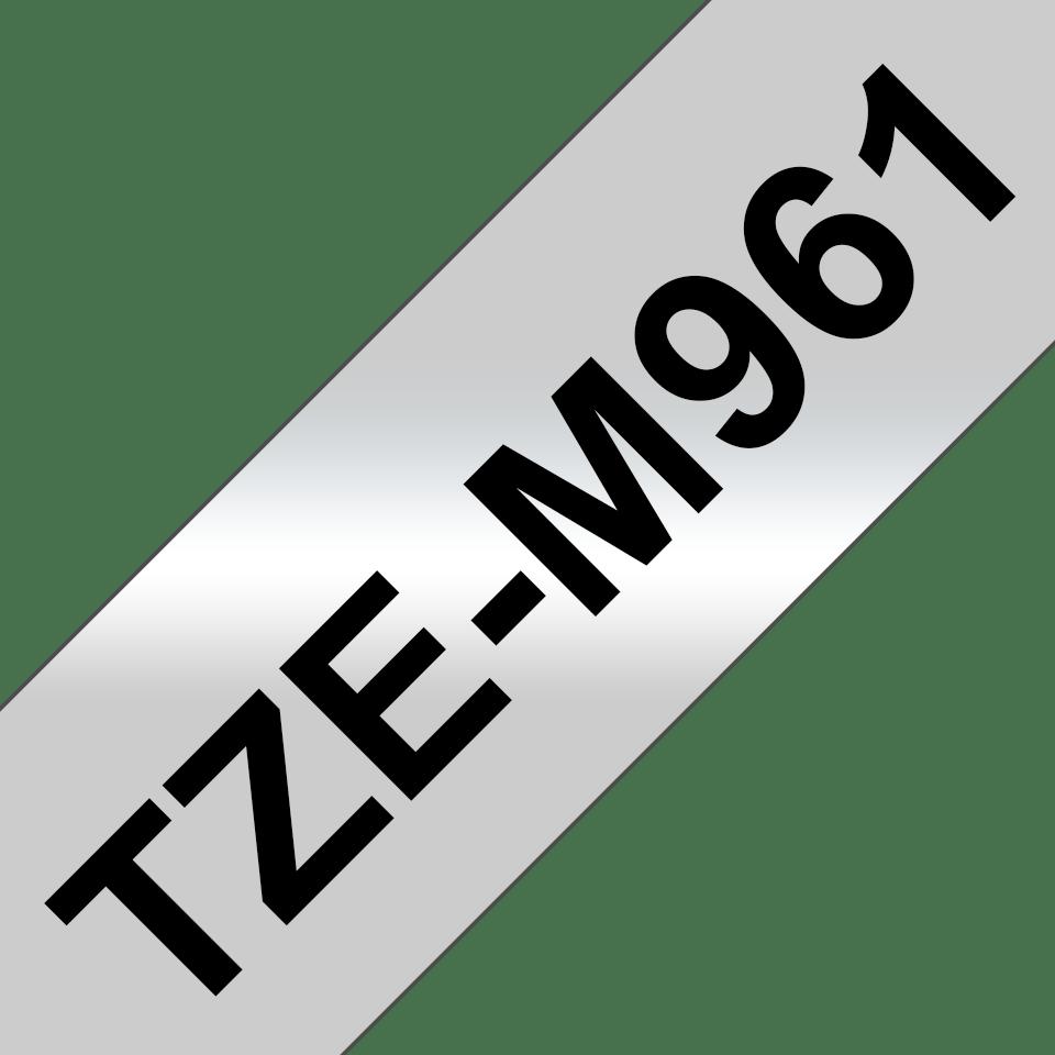 Brother TZe-M961 Schriftband – schwarz auf silber (matt) 2