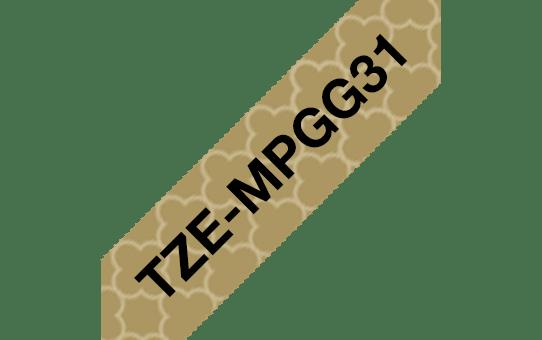 Brother TZe-MPGG31 Schriftband – schwarz auf gold-geometrisch 3