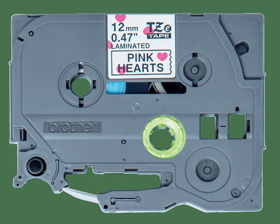 Brother TZe-MPPH31 Schriftband – schwarz auf rosa Herzen 0