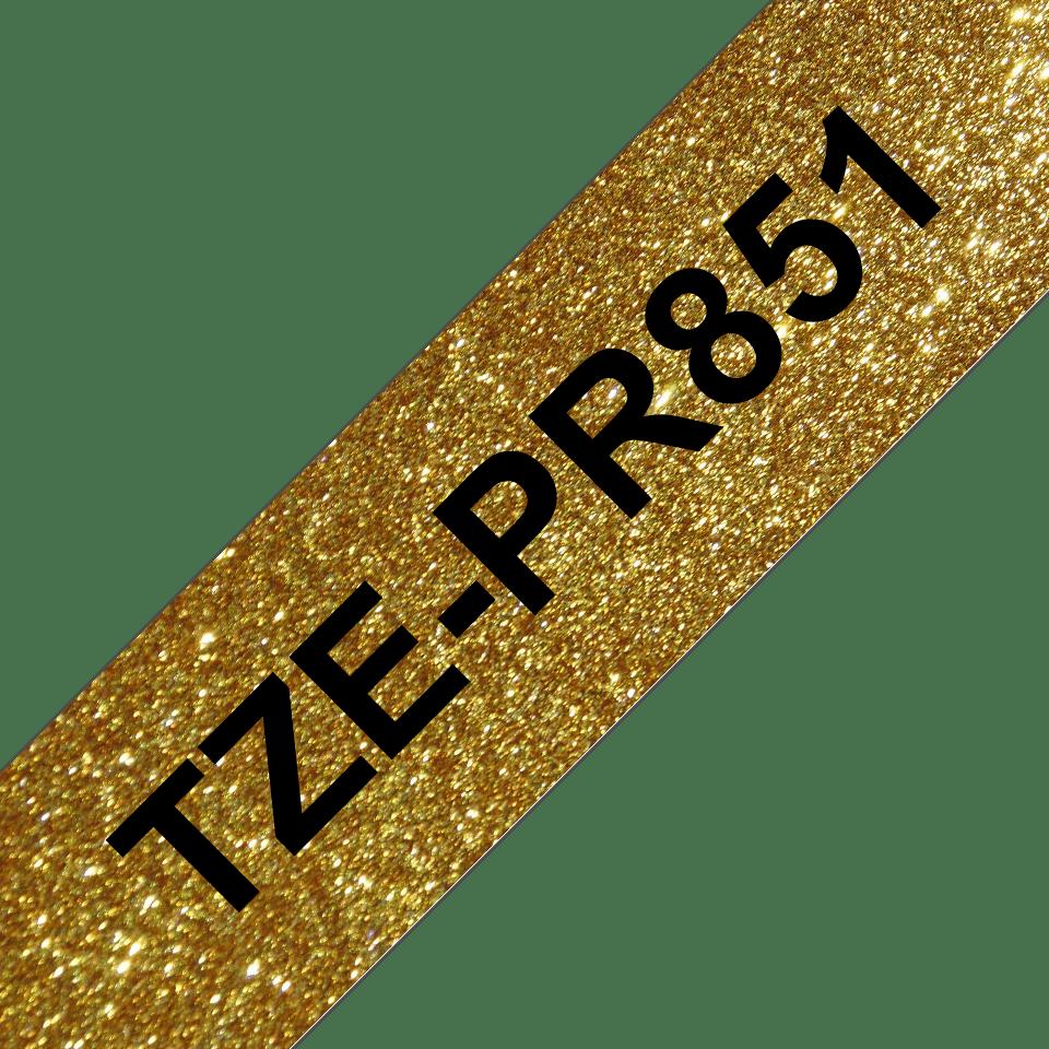 Brother TZe-PR851 Schriftband – schwarz auf glitzergold 3