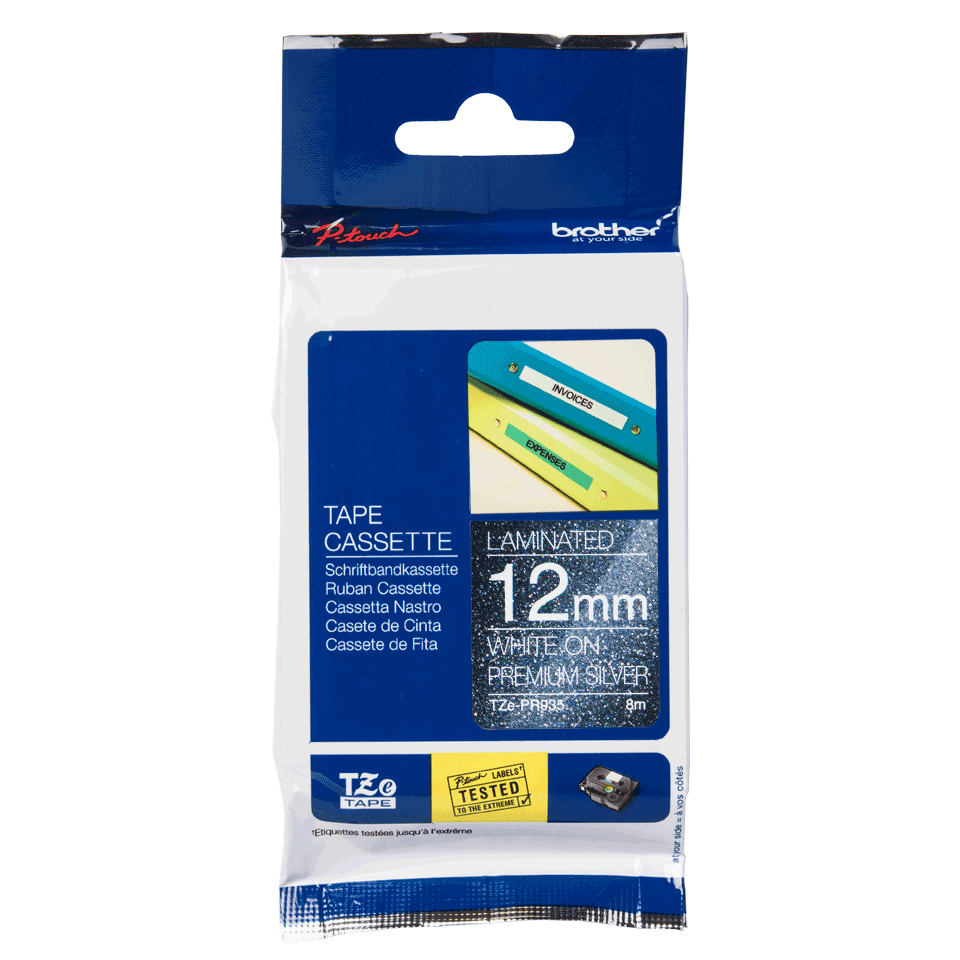 Brother TZe-PR935 Schriftband – weiß auf premium-silber 2