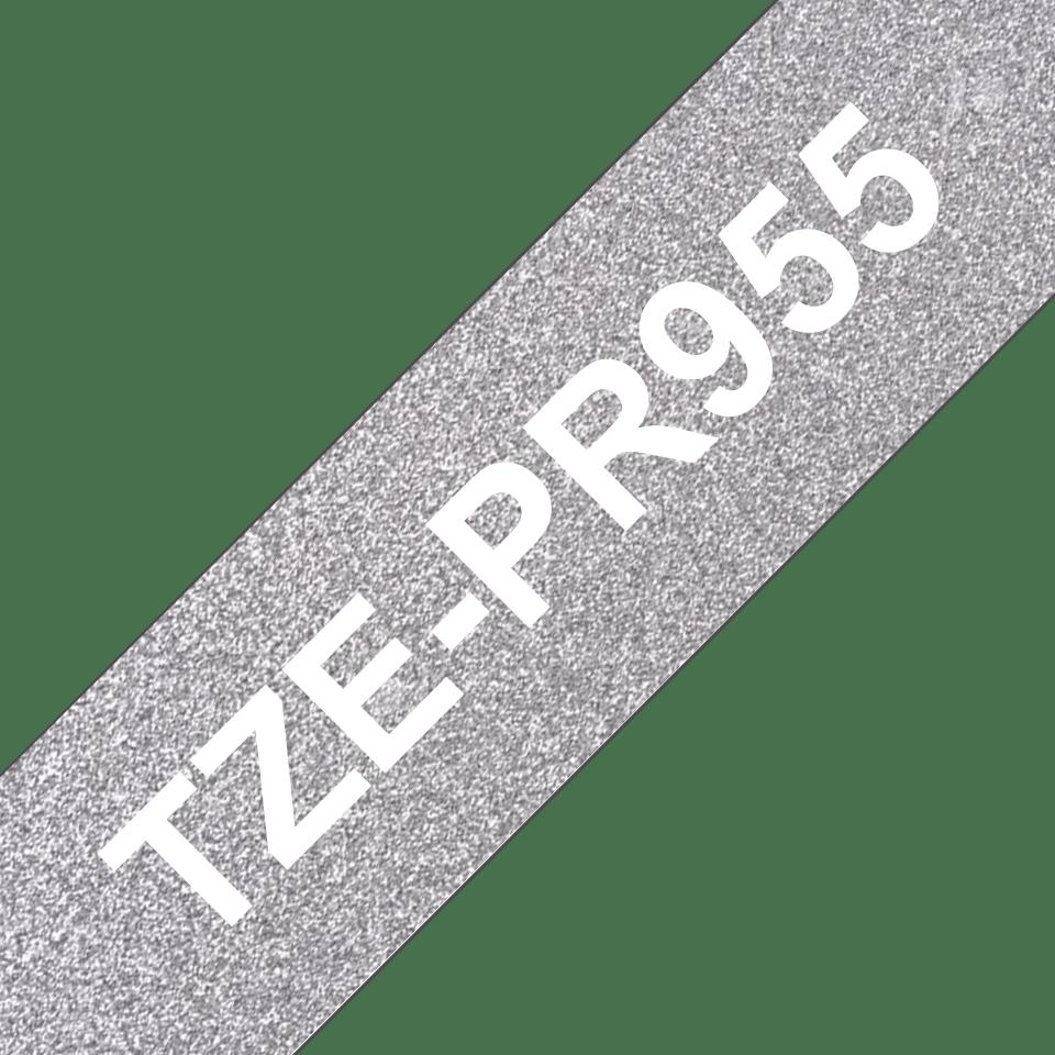 Brother TZe-PR955 Schriftband – weiß auf premium-silber 3
