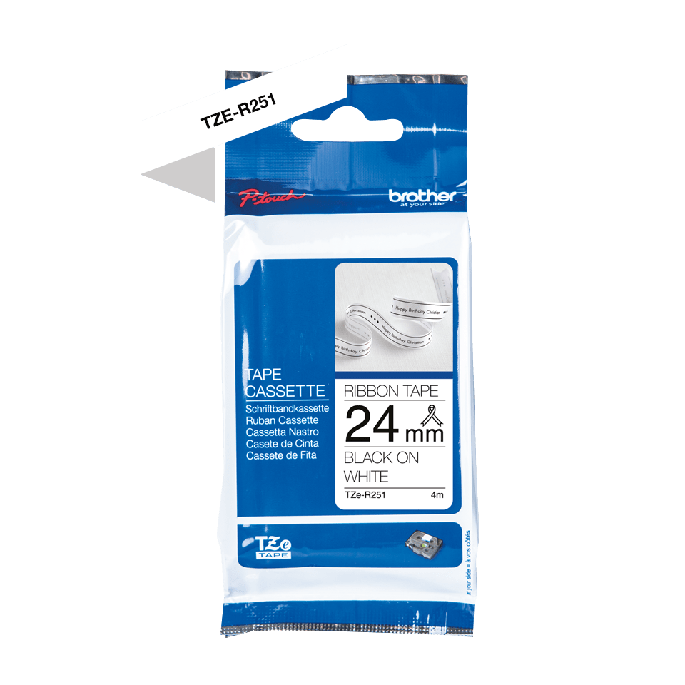 Brother TZe-R251 Textilband – schwarz auf weiß 2