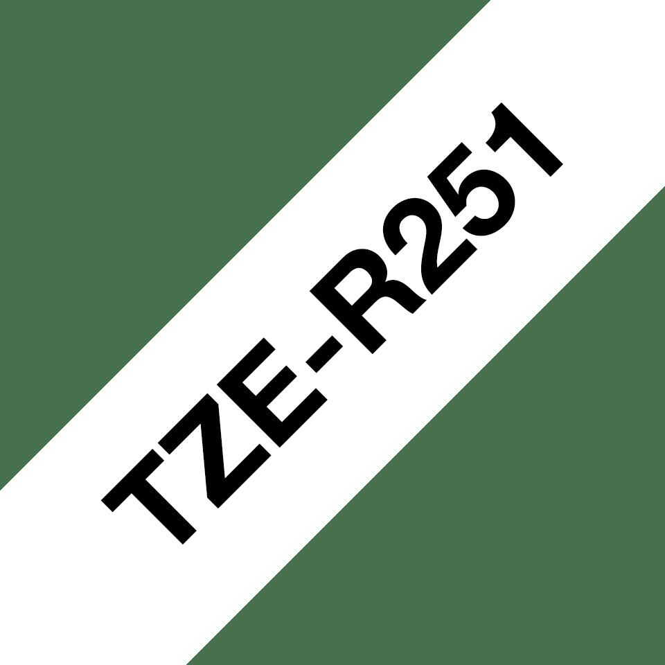 Brother TZe-R251 Textilband – schwarz auf weiß 3