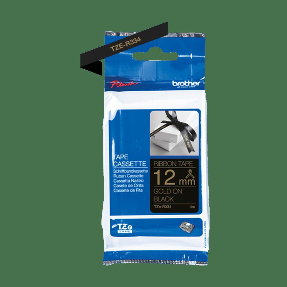 Brother TZe-R334 Textilband – gold auf schwarz 2