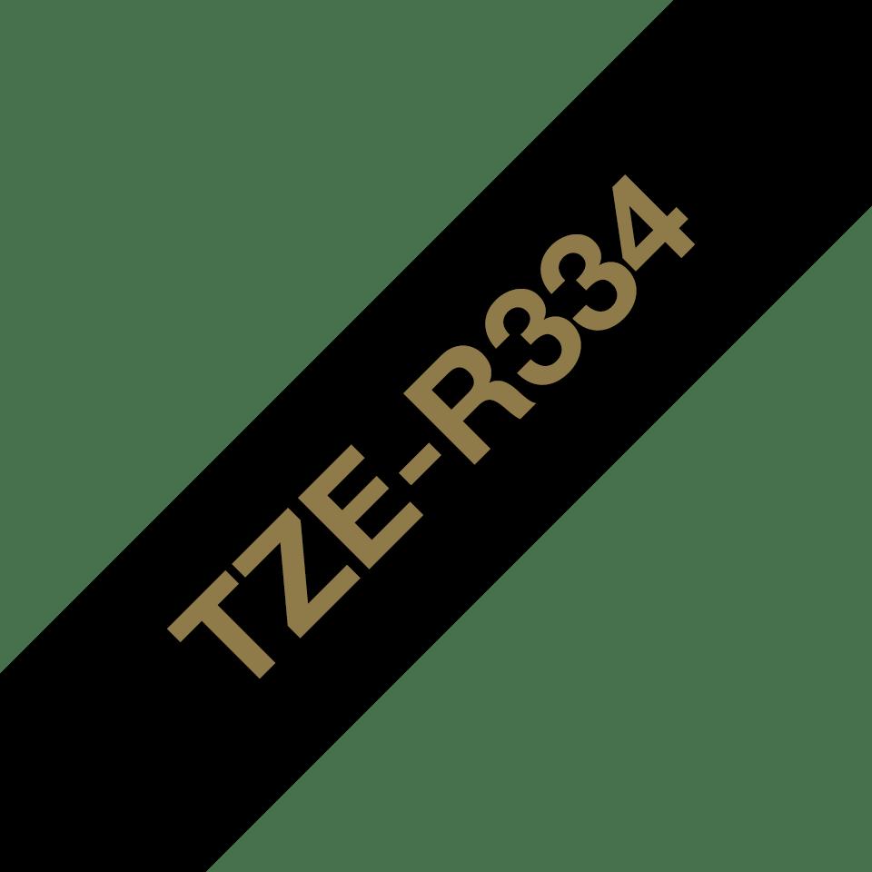 Brother TZe-R334 Textilband – gold auf schwarz 3