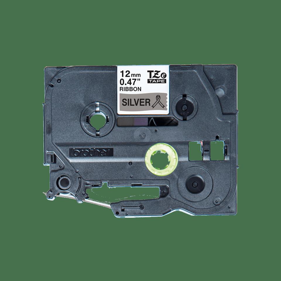 Brother TZe-R931 Textilband – schwarz auf silber