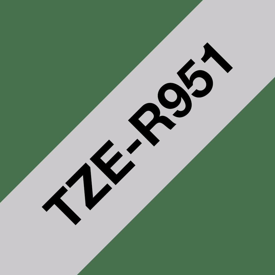Brother TZe-R951 Textilband – schwarz auf silber 3