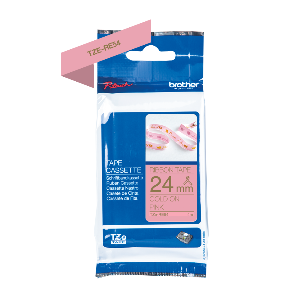Brother TZe-RE54 Textilband – gold auf rosa 2