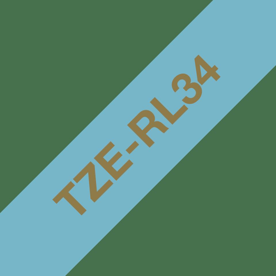 Brother TZe-RL34 Textilband – gold auf hellblau 3