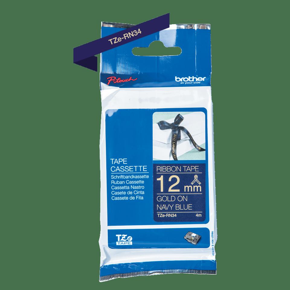 Brother TZe-RN34 Textilband – gold auf marineblau 3