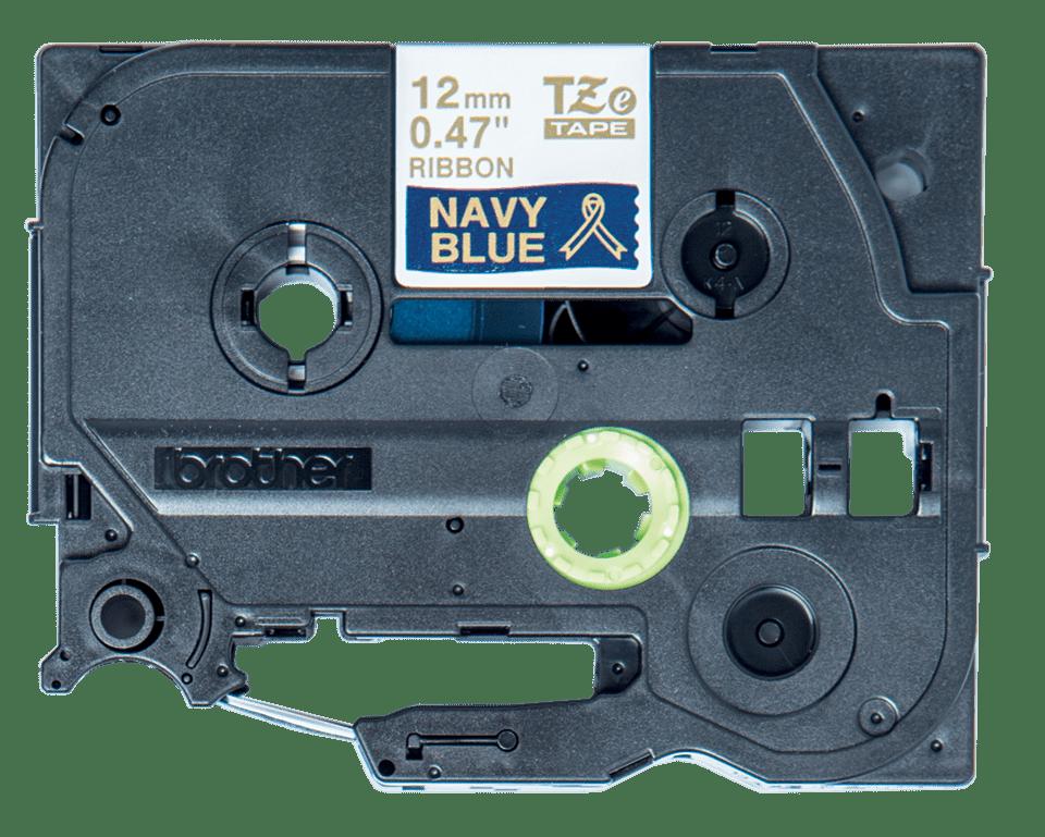 Brother TZe-RN34 Textilband – gold auf marineblau 2