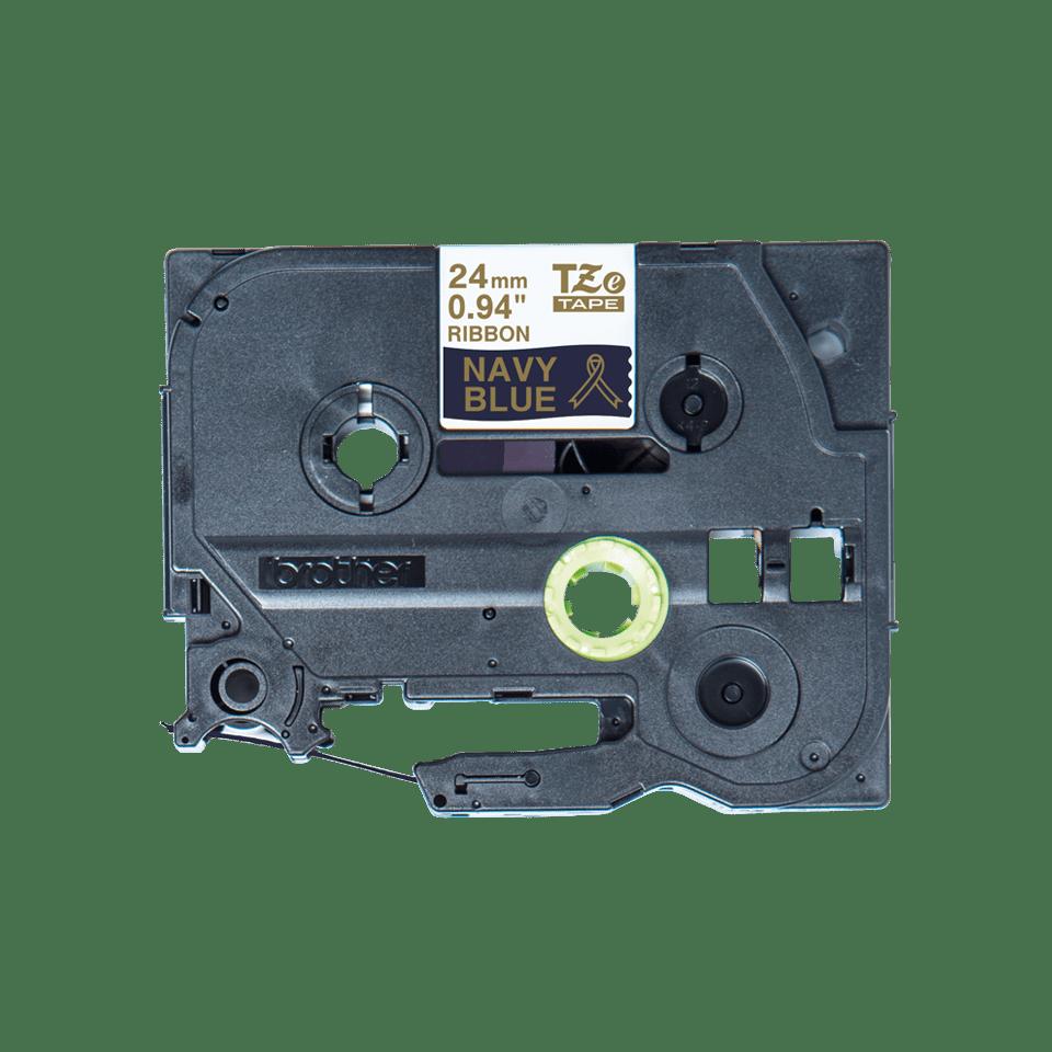 Brother TZe-RN54 Textilband – gold auf dunkelblau