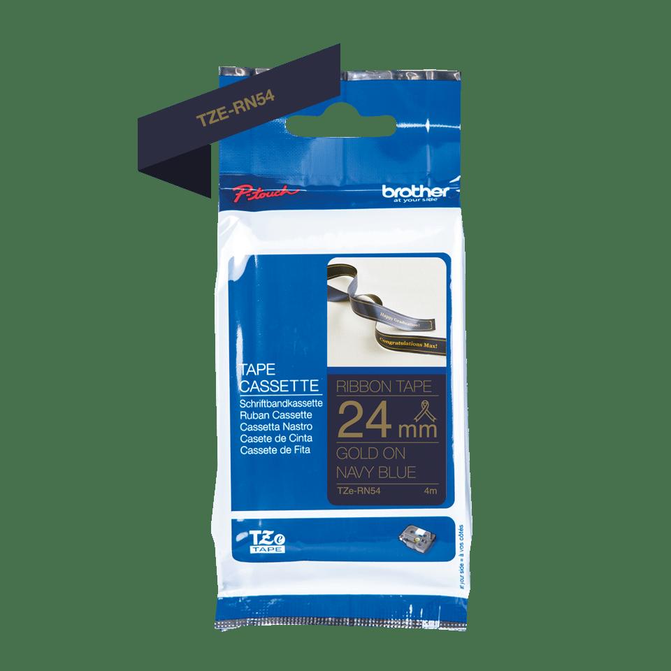 Brother TZe-RN54 Textilband – gold auf dunkelblau 2