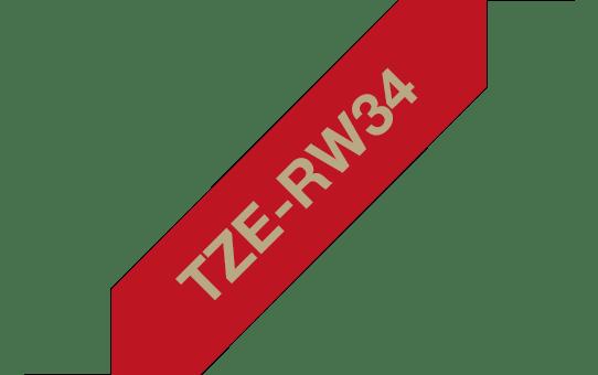Brother TZe-RW34 Textilband – gold auf weinrot 2