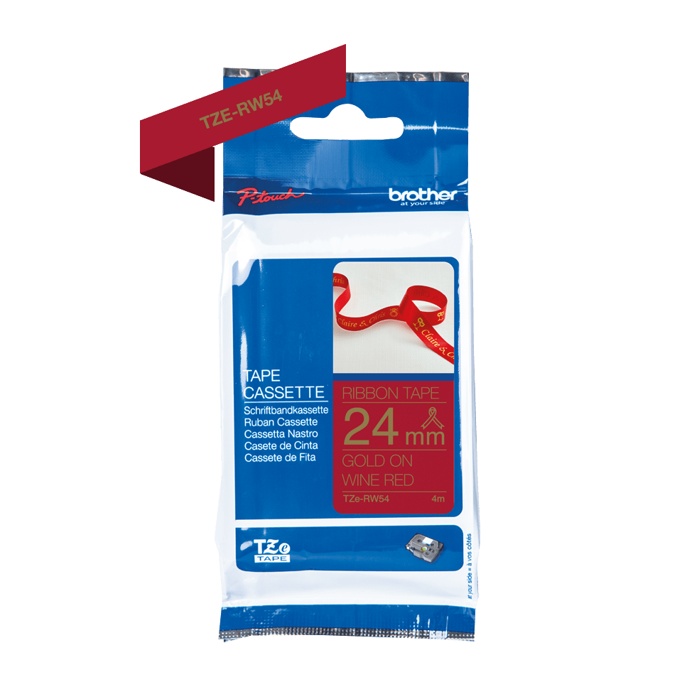 Brother TZe-RW54 Textilband – gold auf weinrot 2