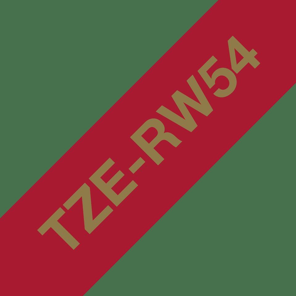 Brother TZe-RW54 Textilband – gold auf weinrot 3