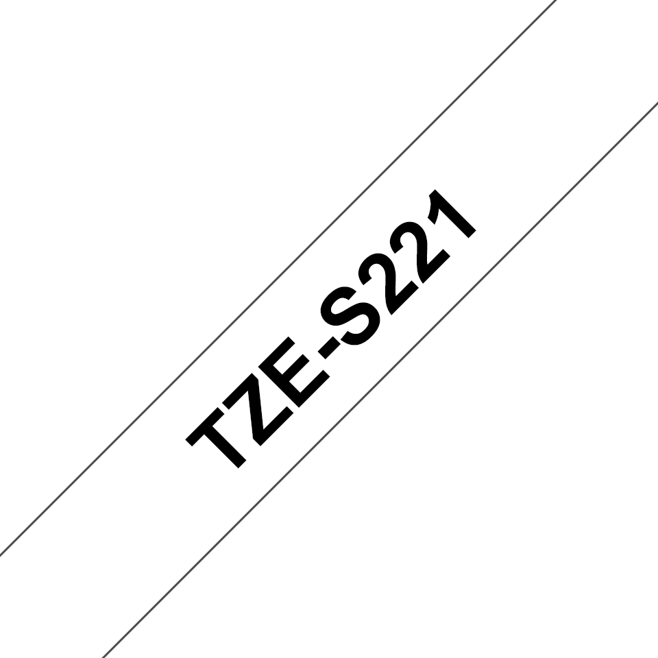 Brother TZe-S221 Schriftband – schwarz auf weiß 2