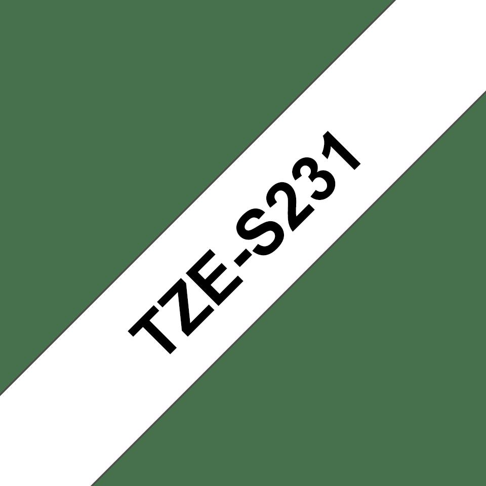 Brother TZe-S231 Schriftband – schwarz auf weiß 2