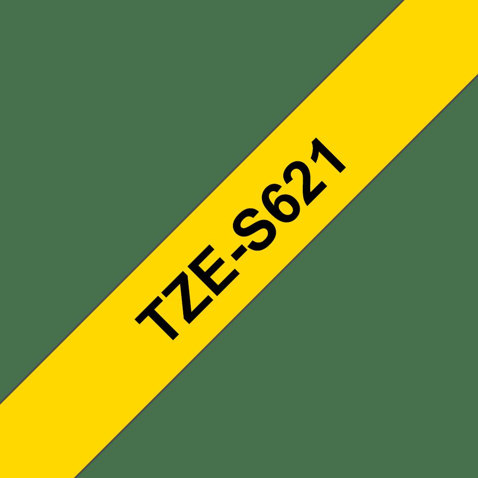 Brother TZe-S621 Schriftband – schwarz auf gelb 2
